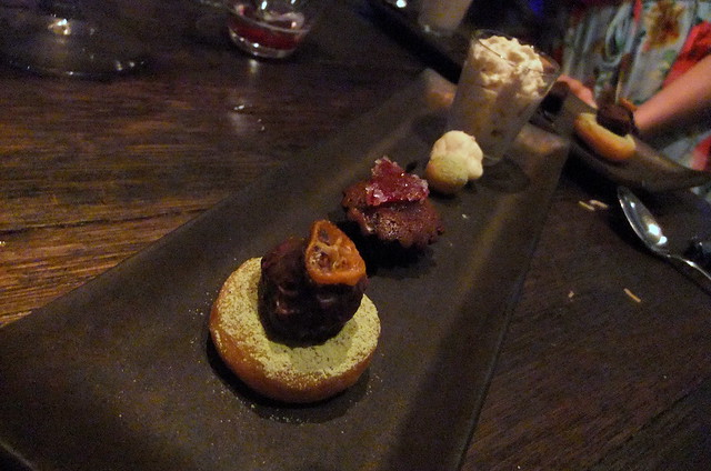 Sweet Agent: Chocolate Truffle, Green Tea Doughnut, Warm Chocolate Cake with Kumquat Candied and Mocha Foam