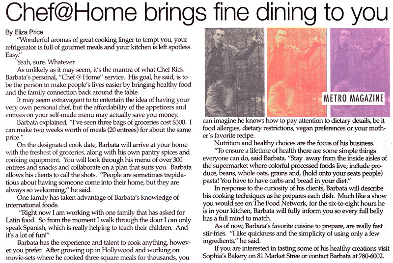 Metro Magazine - Chef@Home brings fine dining to you