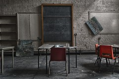 c1b (Robert Kendall.) Tags: derelict abandoned age school board teach rules light dark shadows dust mold broken mind chair pictures hang decay past present explore off limits hdr spooky anarchist out forever nikon prime