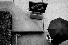 PUBLIC AND HOTEL (R*Wozniak) Tags: bw blackwhite blackandwhite street candid umbrella pov rain contrast d700 50mm
