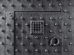 Castle Door (Tim Ravenscroft) Tags: door studs castle chirk wrexham wales hasselblad hasselbladx1d x1d monochrome blackandwhite blackwhite grille