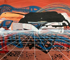 Jim Harris: Sans titre. (Jim Harris: Artist.) Tags: schoolofthemuseumoffinearts schilderij konst kunst kunstzeitgenössische cosmology cosmos landscape lartabstrait painting peinture contemporaryart arte avantgarde red geometric