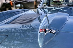 Blue-Sprigged Steel, Perfect For Summer (~ Liberty Images) Tags: vette corvette blue azure reflection badging chevy libertyimages chevrolet classiccar hood pumpkinrun