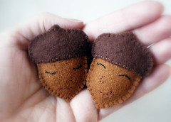 sleepy acorns (lilfishstudios) Tags: wool recycled handmade embroidery sewing craft felt acorns lilfishstudios agiftformynephew