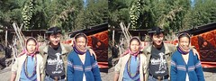 Apatani man and two women in Hong, India stereoview (Stereomania) Tags: woman india tattoo nose lumix stereoscopic stereophoto stereophotography 3d tribal tattoos panasonic hong stereo plug stereoview tribe 2009 pradesh arunachal noseplug ziro apatani noseplugs