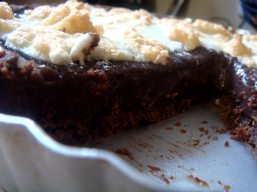 Sliced chocolate pudding pie