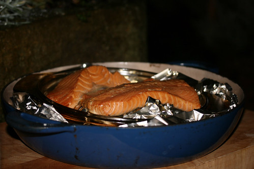 Smoked salmon outside