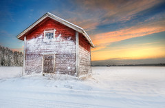 Snowy Sunset II (Latyrx) Tags: light sunset shadow sky snow nature colors clouds barn photoshop suomi finland landscape photography photo cabin nikon view graphic background stock perspective sigma finnish 1020mm sell 2009 hdr mikko resize latyrx d90 3exp nikond90 mikkolagerstedt
