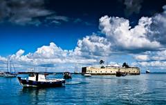 Blockhouse Blue (..2?) (Kaunokainen) Tags: ocean blue sea brazil sun ski brasil clouds port boats colours wind bahia blockhouse cidadebaixa salvadordebahia bahiadetodosossantos statodibahia