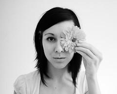 7/365. lull- andrew bird. (Azarah Eells) Tags: portrait bw white black flower me girl self hair blackwhite site eyes soft hand website 365 7365 2010yip