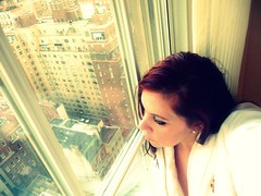 reflecting... (Manhattan Girl) Tags: nyc windows selfportrait me hotel robe manhattan lookingoutthewindow thepierrehotel