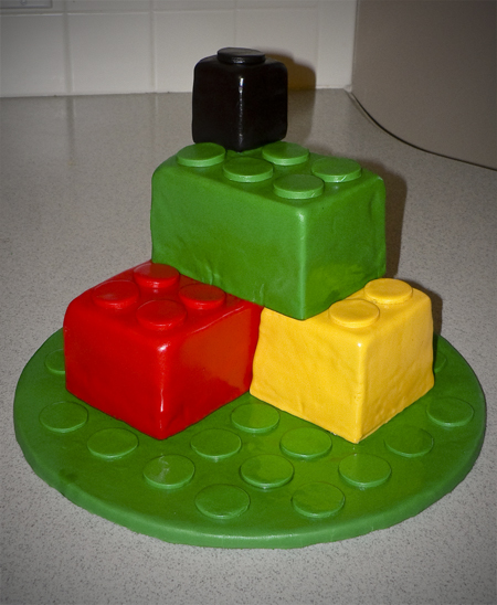 lego bricks birthday cake fondant covered built