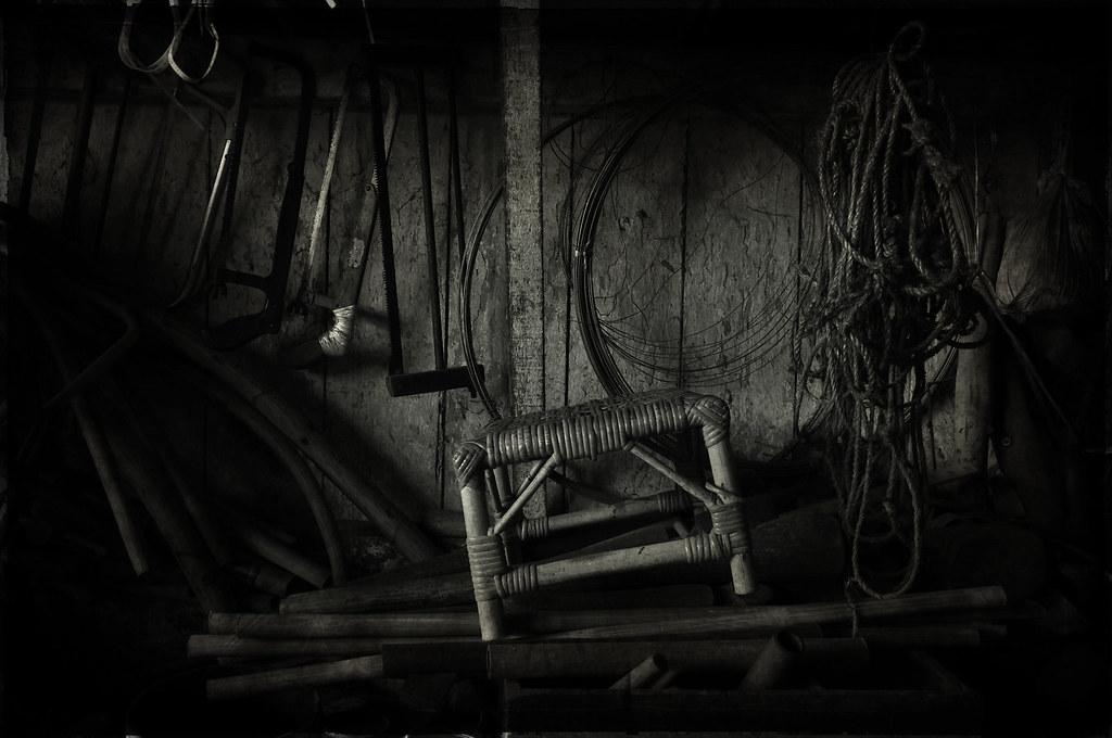 A little corner of a cane furniture shop/ ?????
