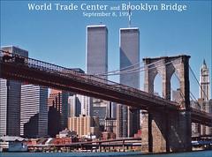World Trade Center and Brooklyn Bridge -- September 8, 1990 (Ron Cogswell) Tags: worldtradecenter brooklynbridge ellisisland roncogswell ellisislandny ellisislandrededicationseptember1990 worldtradecenterandbrooklynbridgeseptember81990 worldtradecenterandbrooklynbridge