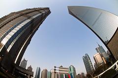 Twooo Towers (tk21hx) Tags: china architecture buildings shanghai sigma fisheye   moribuilding pudong jinmaotower  swfc kohnpedersenfox sigma15mmf28exdgdiagonalfisheye shanghaiworldfinancialcenter  canoneos5dmarkii