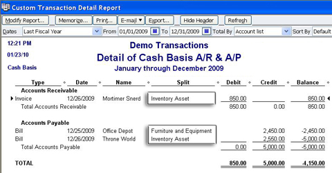 Clearing Payable And Receivable Balances In A CashBasis Balance