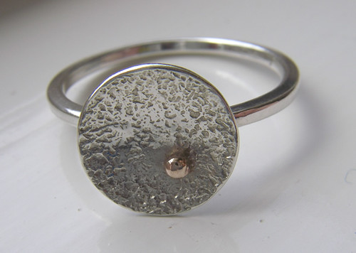 textured dome ring with gold spot 2