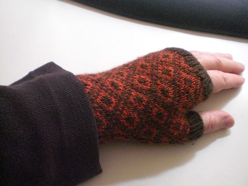my poor hurt hand in  a shrink wrapped fingerless mitten