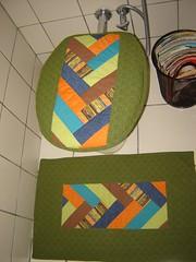 Jogo Banheiro (Pimenta Arteira) Tags: galinha handmade artesanato porta fuxico patchwork jogo cozinha banheiro controle tecido
