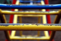 Primary monkey bars (Jean-Franois Chnier) Tags: park blue red yellow japan tokyo dof bokeh   monkeybars japon junglegym  todoroki   scimmia   jfcpix