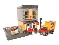 Lego City Classic Post Office (lgorlando) Tags: red classic lego postoffice modular postal firebrigade boxtruck greengrocer cafecorner