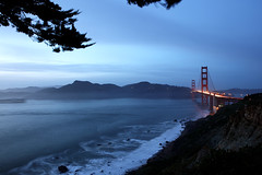Blue Hours (arka02) Tags: ocean california bridge blue sunset wallpaper sky reflection tree art beach water beautiful night clouds lights golden bay gate san francisco branch view pacific artistic anniversary hills size 75th arka02