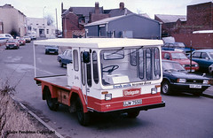 Unigate, re-bodied electric float at Wednesbury, 1987 (Lady Wulfrun) Tags: ford cortina electric milk 1987 traction delivery float 1980s westmidlands doorstep workshops wolverhampton milkfloat lloydsbank perrystreet wednesbury rebody unigate vauxhallviva rebodied 724w ujw755g xoc354t