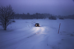Driving in the storm, (Grace Olsson Fotograf(Im abroad)) Tags: street winter light snow storm nature car sweden scandinavian ruralarea skerike graceolsson