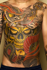 Tattoo by Bill Canales (Needles and Sins (formerly Needled)) Tags: tattoo bodyart billcanales tibetanskulls fullcircletattoo