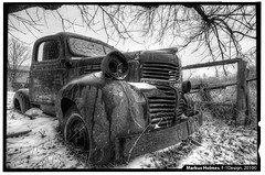 Rusty ole Dodge 1 (f1design) Tags: winter blackandwhite bw snow abandoned rural truck blackwhite decay country pickuptruck forgotten dodge snowing oldtruck ruraldecay 1941 relic 41dodge dodgetruck olddodge f1design 1941dodge 1941dodgepickup