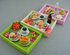 Breakfast In Bed Collection (Shay Aaron) Tags: wood pink food house flower green scale kitchen coffee rose breakfast miniature healthy doll tea handmade aaron fake mini polymerclay fimo tiny brunch faux shay tray 12th 112 dollhouse petit lunchbreak breakfastinbed twelfth            shayaaron