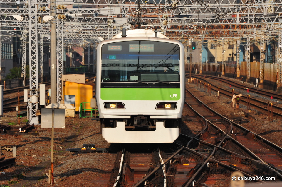 The Yamanote Line train approaches the Station.