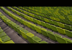 Green Seats (It's Stefan) Tags: orange verde green sports lines linhas architecture germany munich mnchen bayern deutschland bavaria football athletics geometry soccer vert arena estadio seats perch olympia alemania olympic grn  naranja olympicstadium allemagne gomtrie stade germania sige lignes sillas  geometria olympiastadion geometrie  lneas  asiento linien   olympiastadium estadioolmpico  sitzpltze gntherbehnisch      siege    stefanhoechst