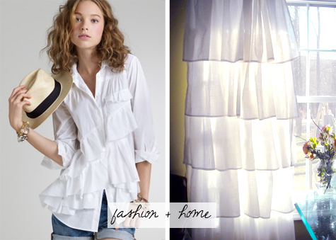 j. crew sweeping ruffles shirt and white ruffle curtain