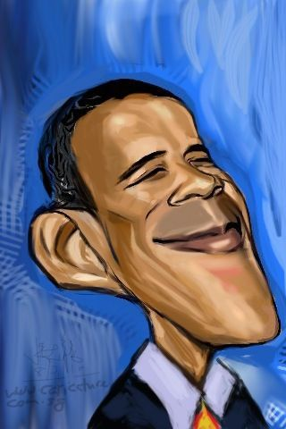 Barack Obama caricature done with iPhone