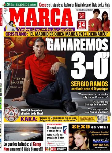 "Portada del diari Marca amb les declaracions de Sergio Ramos: ""ganaremos 3-0"""
