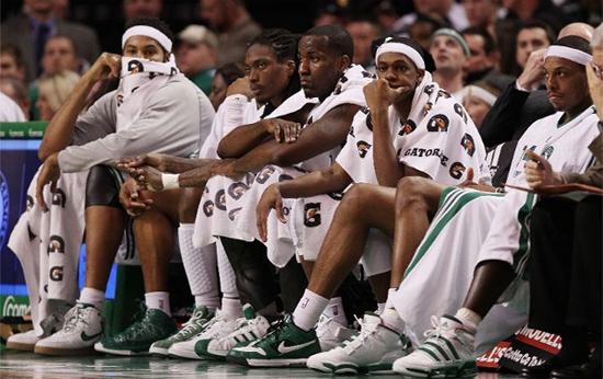 sad Celtics bench stock photo