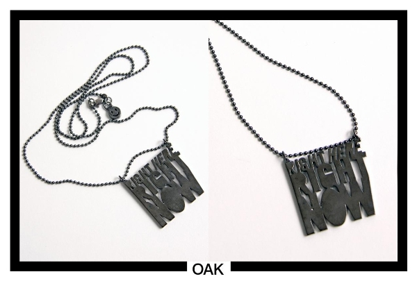 dark gunmetal right here right now necklace