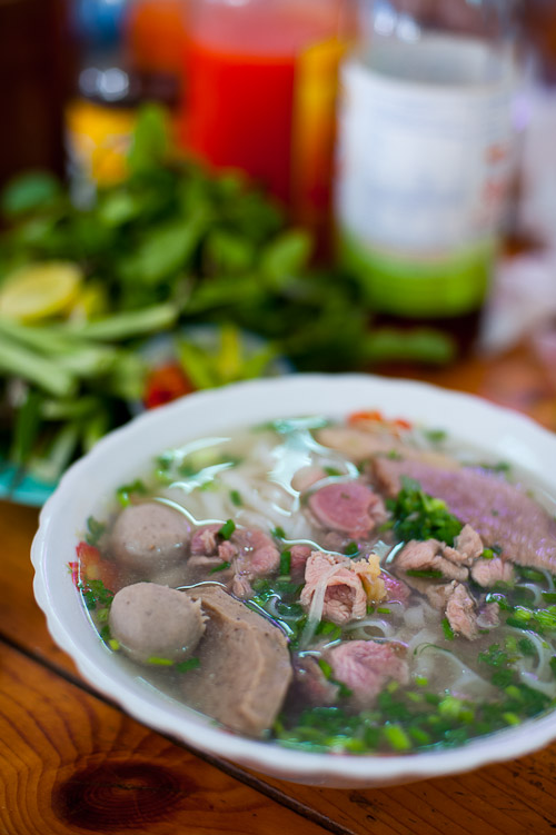 A bowl of beef phở at Phở Dung, a restaurant in Vientiane, Laos