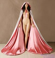 Pink cloak (Sabrina Satin1) Tags: feminine sissy crossdresser ballgown crossdressingfantasy