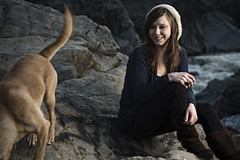 Laura and My Nug (Garrett Meyers) Tags: lighting river puppy rocks foto bokeh rapids garrett boulders softbox meyers strobist