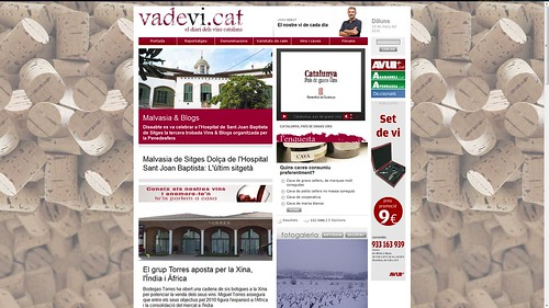 Portada vadevi.cat 15-3-10: 3n Vins&Blogs o Malvasia&Blogs