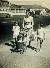 Image titled Marlene, Jim and Mum (Watt) on holiday, Dunoon, 1957.