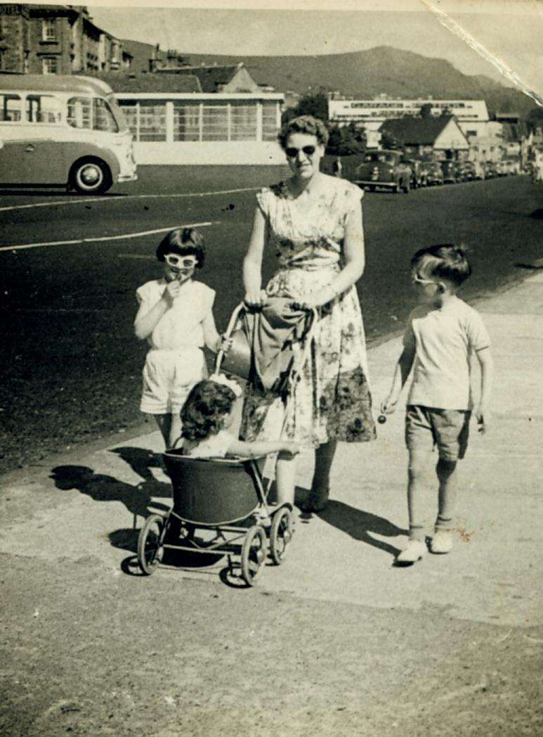 Marlene, Jim and Mum (Watt) on holiday, Dunoon, 1957.