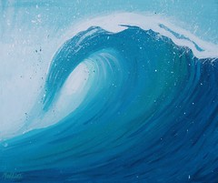 Lush (Maddie Joyce) Tags: ocean blue sea art paint surf acrylic turquoise barrel wave foam splash themagicbus wwwthemagicbuscollectivecom maddiejoyce
