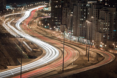 """S"" is for Speed (tomms) Tags: longexposure red urban toronto skyline night race speed highway ns s gardiner expressway streaks rooftopping"
