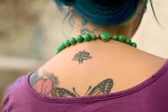 ~ (LeandroF) Tags: blue woman green tattoo butterfly back nikon purple d70