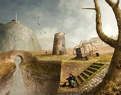 some quiet time (Mattijn) Tags: castle rock collage photomontage pino mattijn magicrealism quiettime naardenvesting