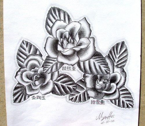 "Flower Tattoo 9""X12"" inch on drawing"