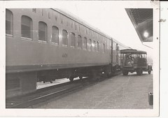 MILWAUKEE PASSENGER TRAIN WITH REA TRUCK 1958a